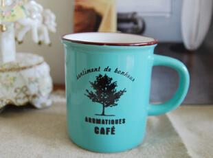 【山鱼良品】CAFE 陶瓷马克杯 大号 粉蓝两色可选,马克杯,