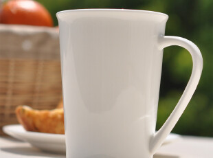 骨瓷杯 星巴克同款马克杯 纯白杯子 14盎司白色锥形杯,马克杯,