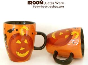 美丽说推荐 杯子 Gates Ware万圣节南瓜灯 手绘陶瓷马克杯/咖啡杯,马克杯,
