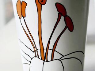 瑞典 LILJA 百合花陶瓷杯 马克杯 橙色 H12cm*9cm,马克杯,