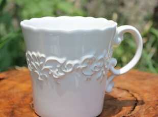 【A grass】外贸陶瓷立体浮雕巴洛克纯白 欧式做旧 马克杯 咖啡杯,马克杯,
