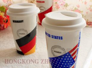 时尚杯子 星巴克双层陶瓷隔热咖啡杯马克杯 国家国旗系列,马克杯,