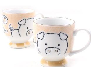 【韩国进口】X077 可爱猪猪情侣马克杯 2P,马克杯,
