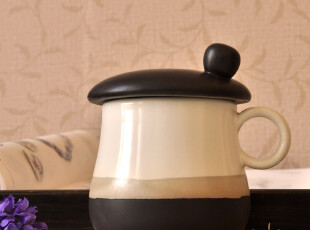 Cappuccino亚光家居美物.蘑菇帽陶瓷盖杯/马克杯/水杯买2个包邮,马克杯,