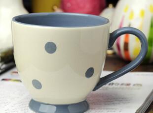 地中海风情欧式简约白底 蓝色圆点餐具 马克杯 咖啡杯,马克杯,