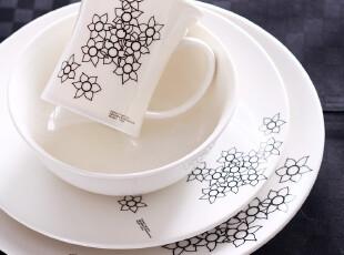 欧洲名品 米兰春天 精致陶瓷餐具 马克杯 餐盘 汤碗 四件套 套装,马克杯,