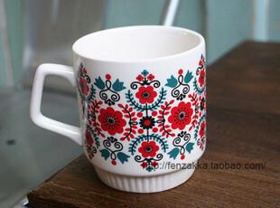 北欧陶瓷杯 水杯 马克杯 小红花杯 套餐链接B,马克杯,