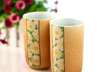 四叶草创意手工杯 生如夏花柱形 陶瓷水杯 杯子 马克杯 对杯,马克杯,