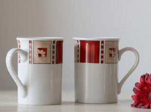 年中特惠 外贸出口尾单 手绘陶瓷红梦白菊带把手马克杯水杯咖啡杯,马克杯,