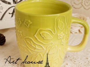 出口欧美外贸陶瓷花之语浮雕水杯 咖啡杯 奶杯 马克杯 外贸尾单,马克杯,