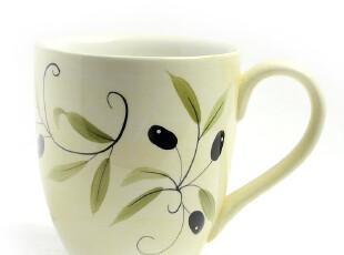 田园牧歌手绘陶瓷外单 kic 绿叶橄榄 马克杯水杯杯子,马克杯,