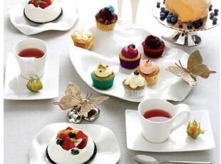 外贸陶瓷餐具豪华组合套装 荷叶形皱褶蛋糕碟 马克杯碟 餐具套装,马克杯,