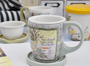 外贸田园风格 陶瓷茶杯带盖 有滤网 马克杯 水杯 办公室杯 茶杯,马克杯,