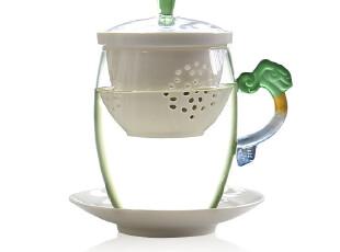 台湾建窑 茶具高档陶瓷过滤办公杯 多彩琉璃把玻璃马克杯 茶杯,马克杯,