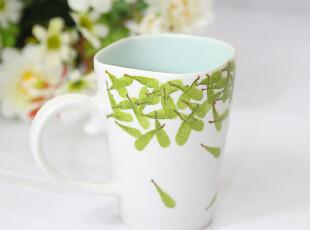 四叶草创意手工杯 陶瓷水杯 有手柄手绘杯 清凉一夏 杯子 马克杯,马克杯,