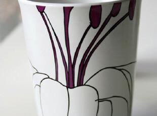 瑞典设计 宜家风格 LILJA 百合花陶瓷杯|马克杯 紫色 H12cm*9cm,马克杯,