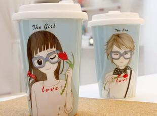 正品kakikaki 小清新创意陶瓷杯马克杯情侣杯咖啡杯子水杯,马克杯,