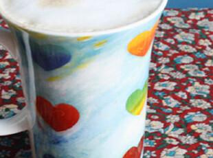 外贸出口英国ChaCult陶瓷杯 艺术油彩心形马克杯 情侣咖啡茶杯,马克杯,