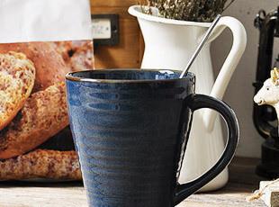 PF 蓝色条纹马克杯 水杯 杯子,马克杯,