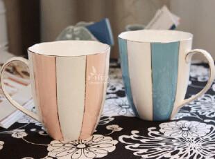 奉华堂8折预售-时尚骨瓷奶茶杯 情侣对杯 马克杯 杯子 粉蓝款,马克杯,