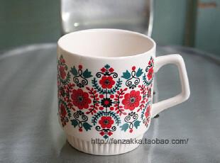 FEN ZAKKA 杂货 北欧陶瓷杯 水杯 马克杯(小红花),马克杯,