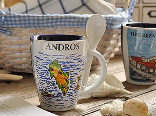 古希腊 海军风 陶瓷马克杯 水杯 带小勺( 一半海水一半蓝天),马克杯,