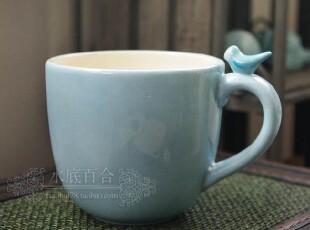 外贸手绘陶瓷 水彩浅蓝色立体小鸟牛奶杯乡村风早餐杯马克杯ZAKKA,马克杯,