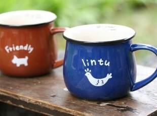 【欧式家居】出口欧洲 蓝色小鸡 咖啡色小狗 咖啡杯 马克杯 水杯,马克杯,