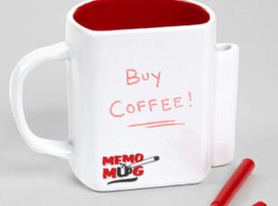 美国进口 带笔筒 便签白板功能的马克杯|咖啡杯Memo Mug,马克杯,