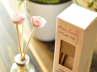 【50包邮】外单 rose loves 藤条无火香薰 挥发液 30ml 送藤条,香薰,