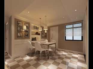 大爱地板的方格设计,非常时尚,好看。,118平,14万,现代,三居,餐厅,