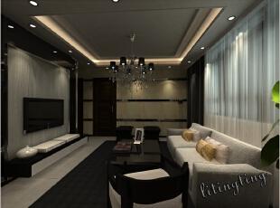 客厅里加入了很多沉淀的炫黑色彩,更显时尚感。,客厅,现代,12万,三居,99平,效果图,