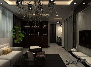 这个璀璨的水晶吊灯让家的气质更优雅。,效果图,现代,12万,99平,客厅,三居,