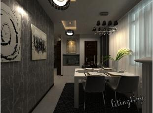 餐桌椅非常简单,直接明了的布置,加入了时尚的挂画,生动了整个用餐环境。,12万,餐厅,三居,效果图,现代,99平,