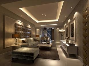 温和的灯光搭配屋中的暖色调,很温馨舒适。,12万,客厅,效果图,欧式,三居,89平,