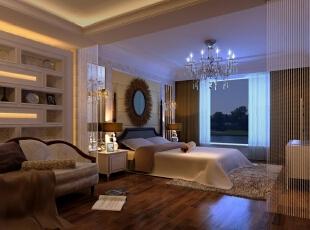 整个卧室坐拥窗外一线光景,非常美观。,效果图,三居,89平,欧式,卧室,12万,