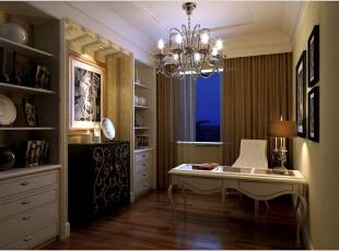 很贵气的设计,完美地彰显了屋中主人的稳重气质。,效果图,89平,书房,三居,欧式,12万,