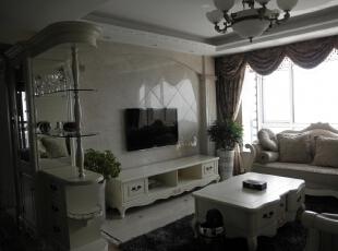 白色和通透的采光效果的多么完美的搭配。,120平,14万,欧式,三居,客厅,