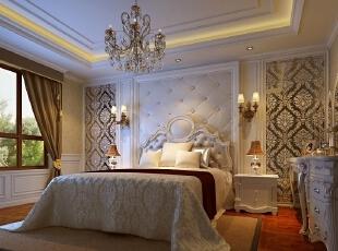 这种优雅的卧室在灯光的衬托下显得更美观。,120平,14万,欧式,三居,卧室,