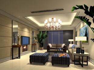 电视墙时尚的装饰,提升了空间的品位。,89平,客厅,两居,效果图,现代,