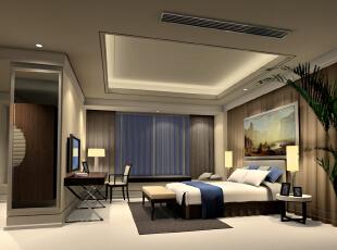 简单的搭配衬托出素雅安静的室内氛围。,现代,两居,卧室,效果图,89平,