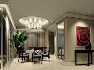 圆形的餐桌椅对应上方圆形的灯池,显得很协调,美观。,两居,餐厅,效果图,89平,现代,