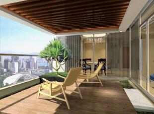 这个阳台空间很宽阔,时常坐在这里看看书,喝杯茶是挺美好的时光。,89平,现代,阳台,两居,效果图,