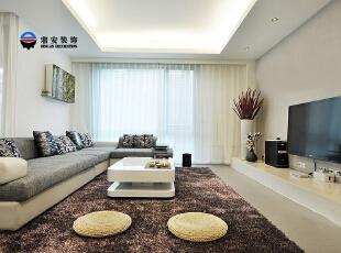 客厅采光很通透,显得非常清新舒适。,120平,12万,现代,三居,客厅,