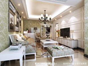 整体客厅给人感觉素雅大方,而且很美观。,14万,欧式,107平,三居,效果图,客厅,