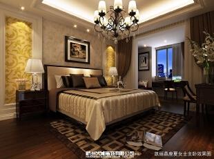 这种低沉色的卧室,表达的是优雅的生活。,107平,效果图,卧室,三居,欧式,14万,