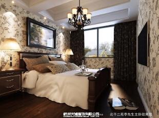 怀旧、浪漫是这间卧室给予人的整体感觉。,效果图,14万,114平,卧室,三居,美式,