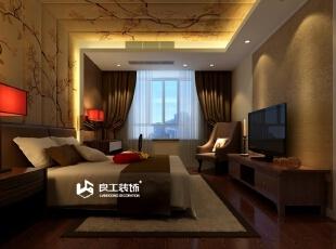 精简的空间设计配合颜色素雅,古典中更具舒适感。,公寓,混搭,效果图,卧室,201平,30万,