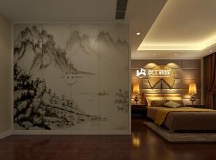 大型的衣柜,门上的设计是中国的毛笔山水画,显得整个卧室很有意境。,30万,卧室,效果图,201平,混搭,公寓,