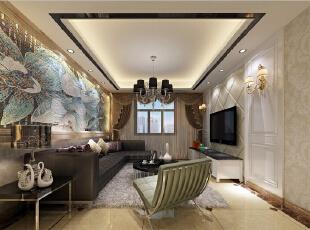 背景墙上的精致壁画瞬间让客厅生动起来。,两居,现代,效果图,88平,客厅,